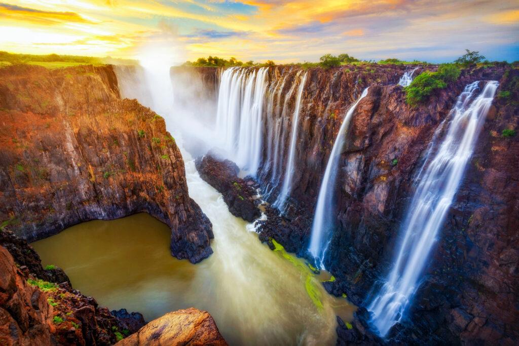 Victoria Falls on the border of Zambia and Zimbabwe.