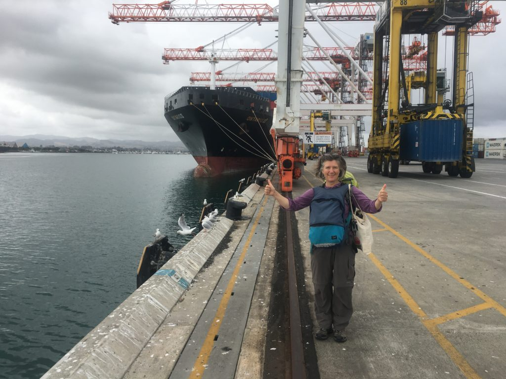 Victoria Osborne getting ready to board a ship.