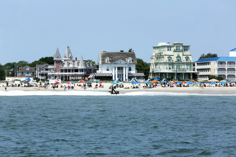 Victorian homes along the beach in Cape May, New Jersey.