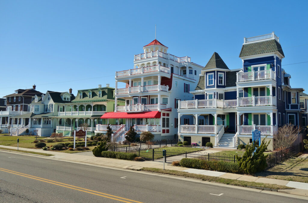 Victorian houses in Cape May, New Jersey.
