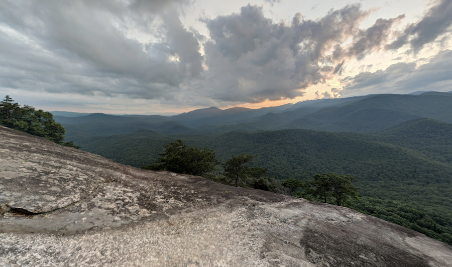 View from Looking Glass Rock at sunset.