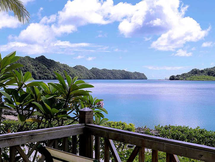 View from patio of lake and tree-covered hills, Palau