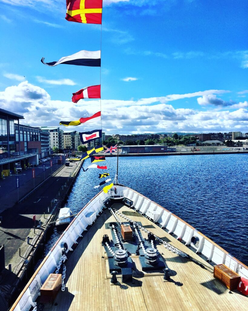 View from the bow of the Royal Yacht Britannia.