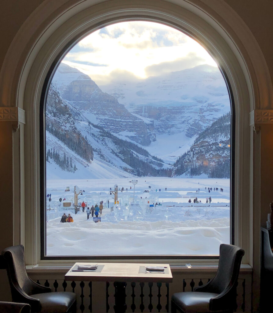 View from the Walliser Stube at Lake Louise.
