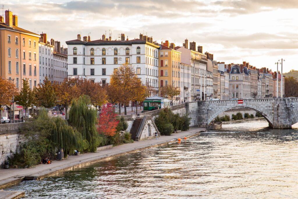 View of a bridge in Lyon, France.
