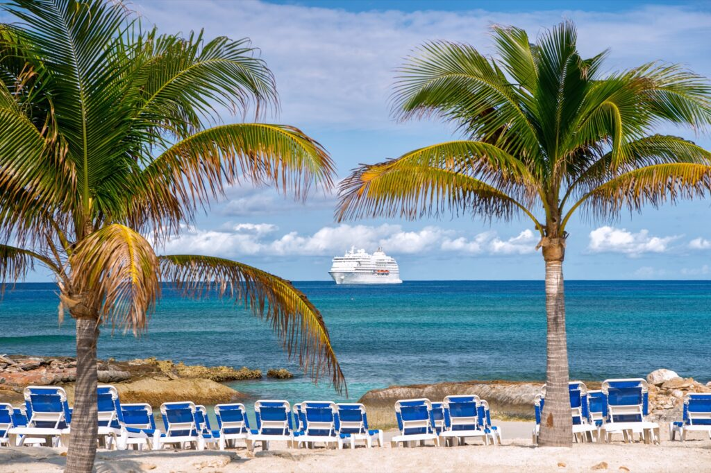 View of a cruise ship from a Cuban beach.