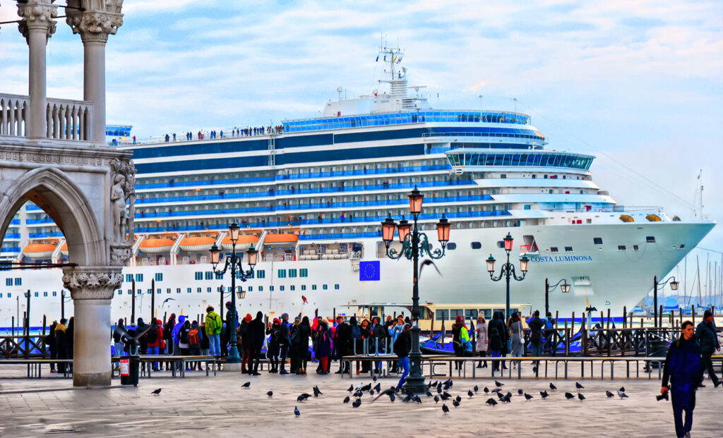 View of a cruise ship from St. Mark's Square in Venice
