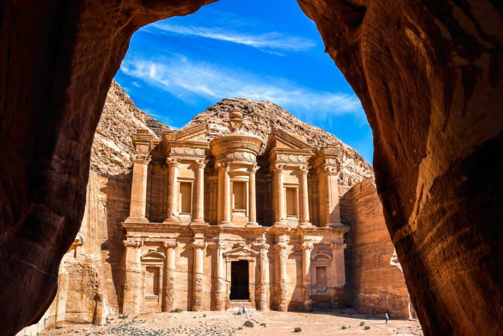 View of Al Khazneh in Petra, Jordan.