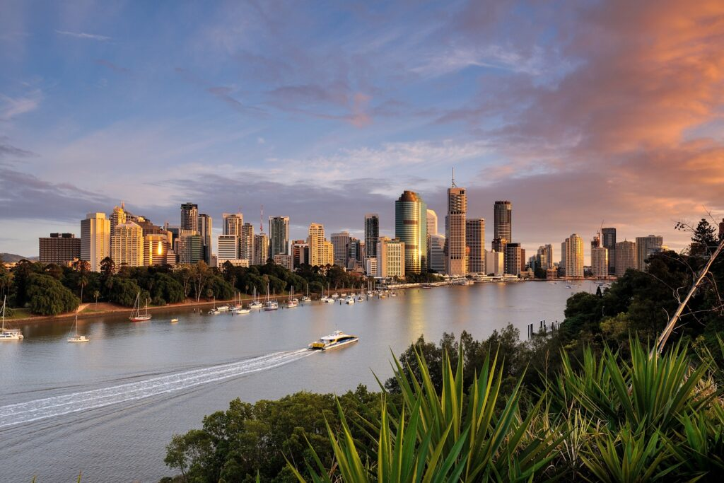 View of Brisbane from Kangaroo Point Cliffs.