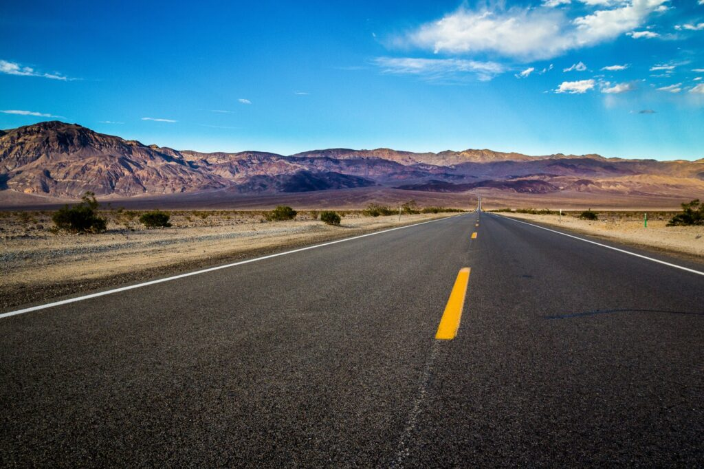 View of California State Route 190 in Death Valley