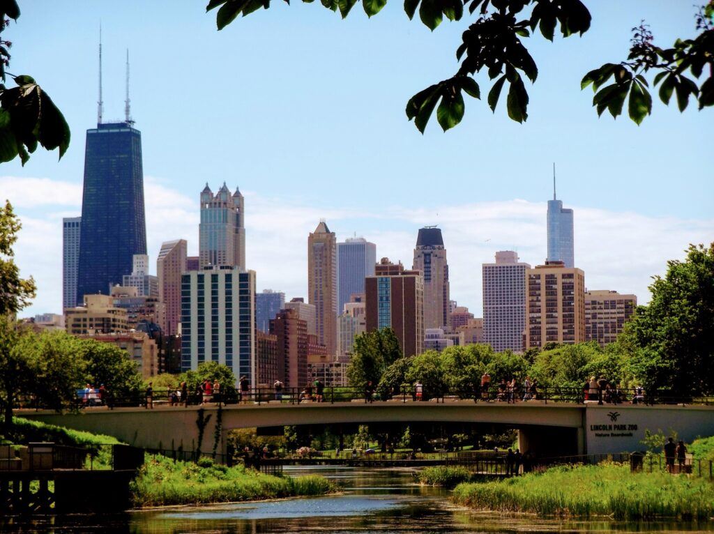 View of Chicago from the Lincoln Park Zoo.