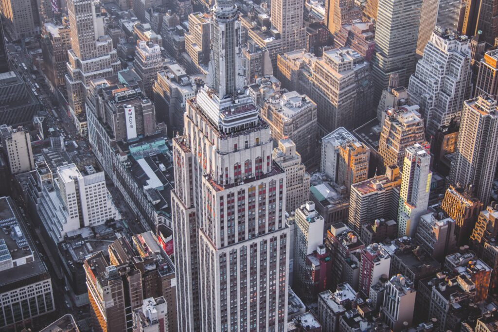 View of Empire State Building from the air