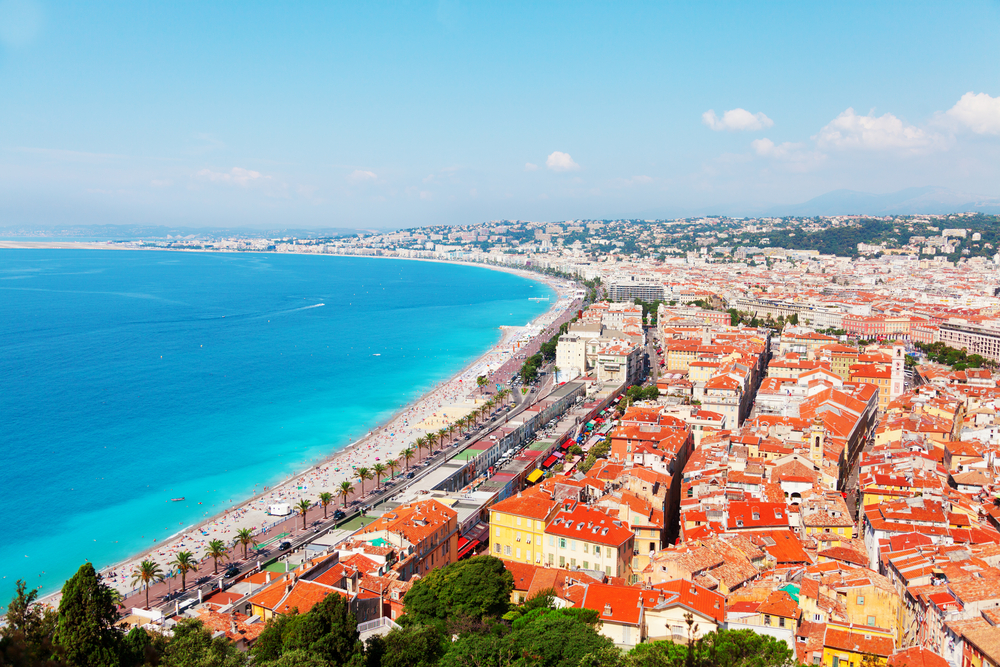 view of french riviera from castle hill