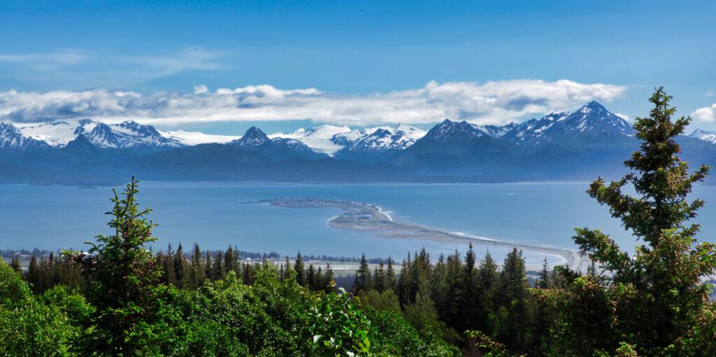 View of Homer Spit in Alaska.