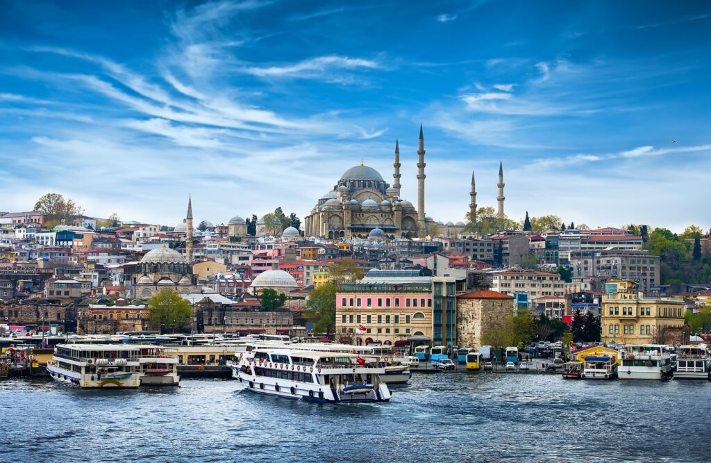 View of Istanbul, Turkey, from the Bosphorus Strait.