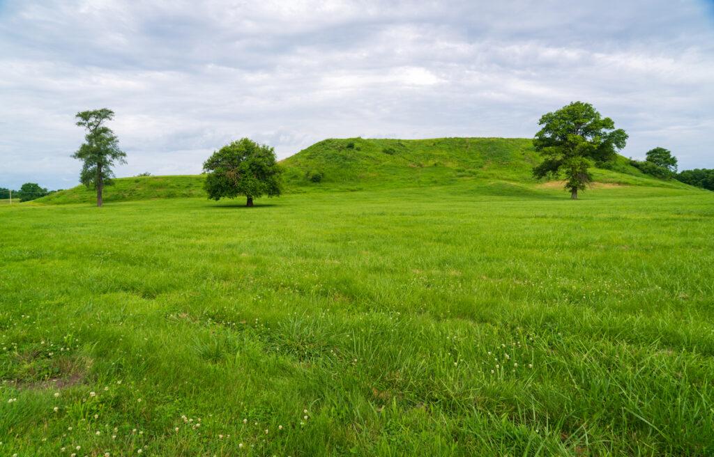 View of Monks Mound at Cahokia Mounds in Illinois.