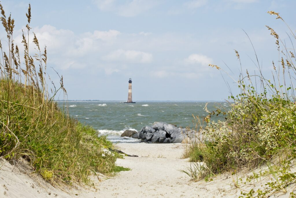 View of Morris Island Lighthouse from Folly Beach.