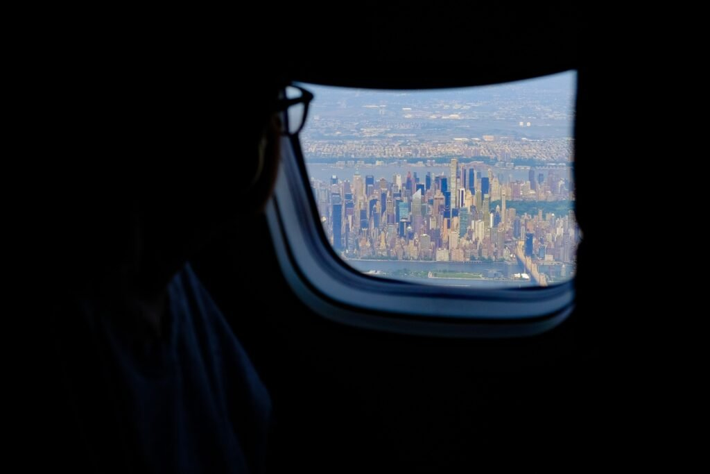 View of New York City from an airplane.