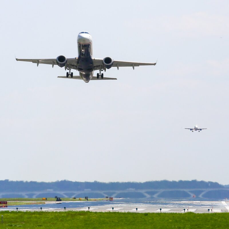 View of planes taking off and landing from Gravelly Point Park in Washington, D.C.