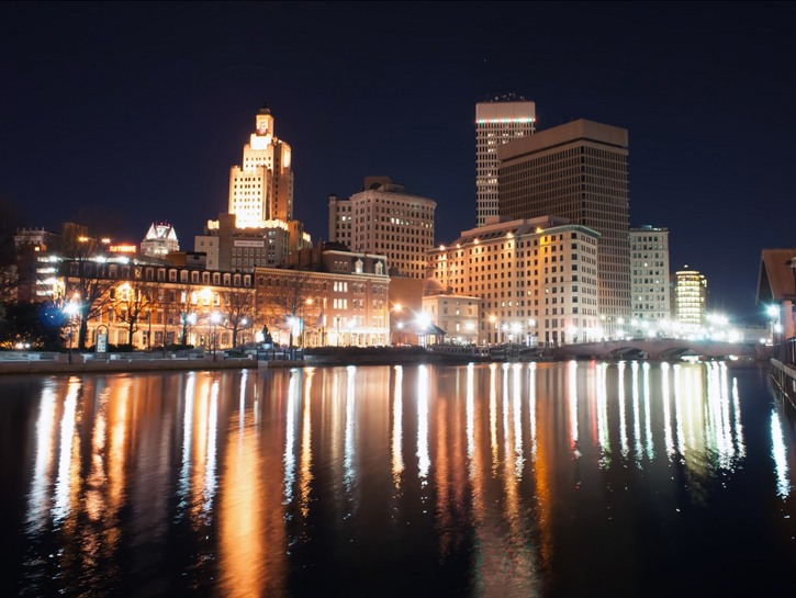 View of Providence from the river at night