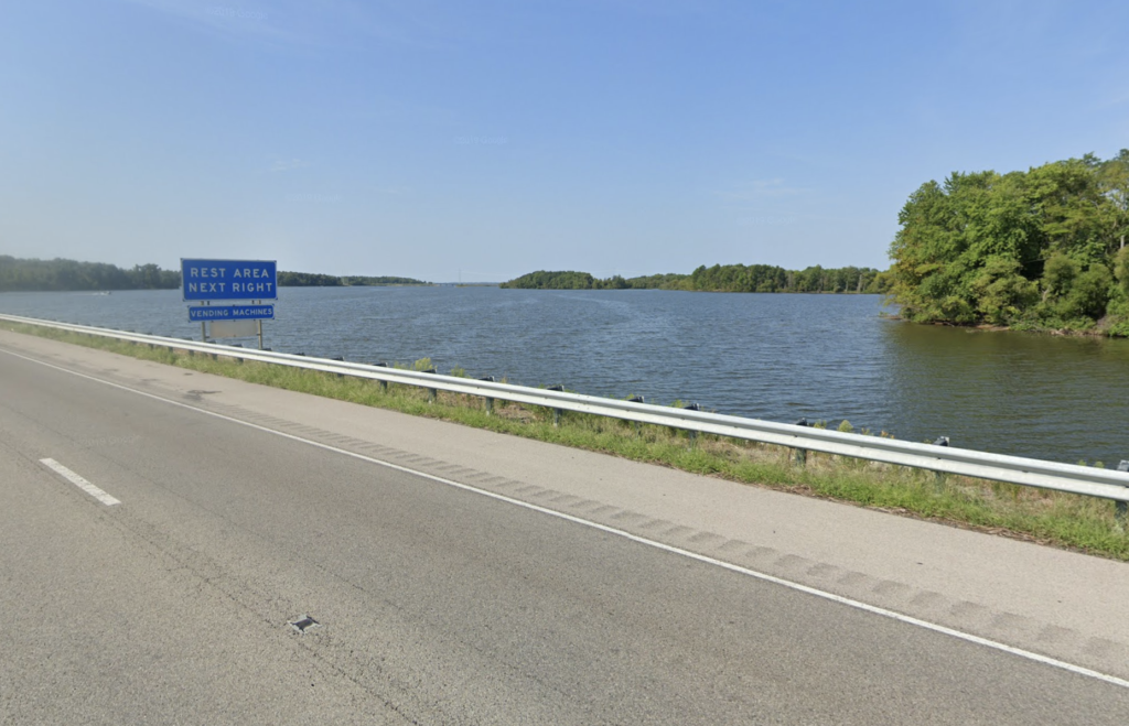View of Rend Lake from Interstate 64 in Illinois.