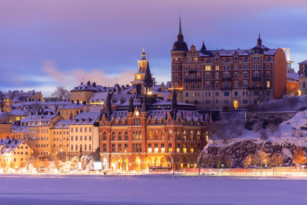 View of Stockholm's Old Town during the winter.