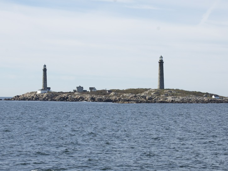 View of Thacher Island, with double lighthouses
