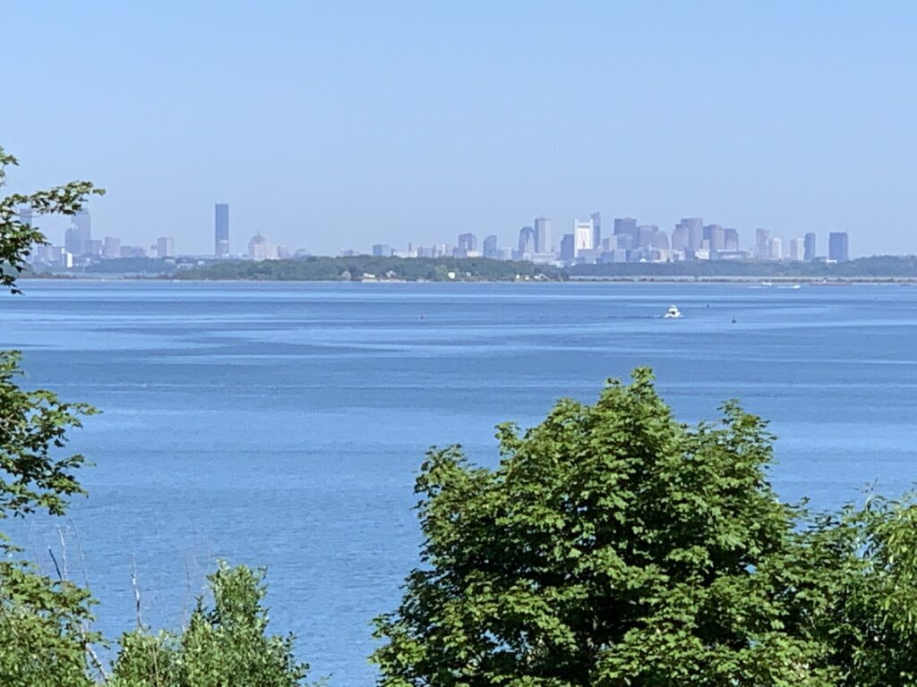 View of the Boston skyline from the World's End Trial.