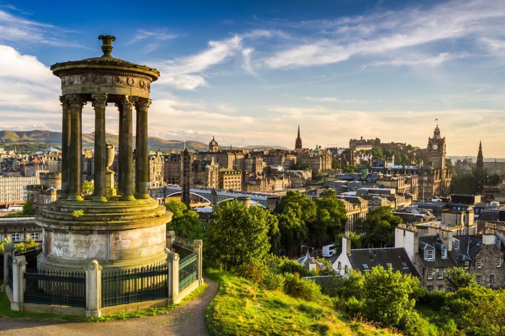 View of the city of Edinburgh, Scotland.