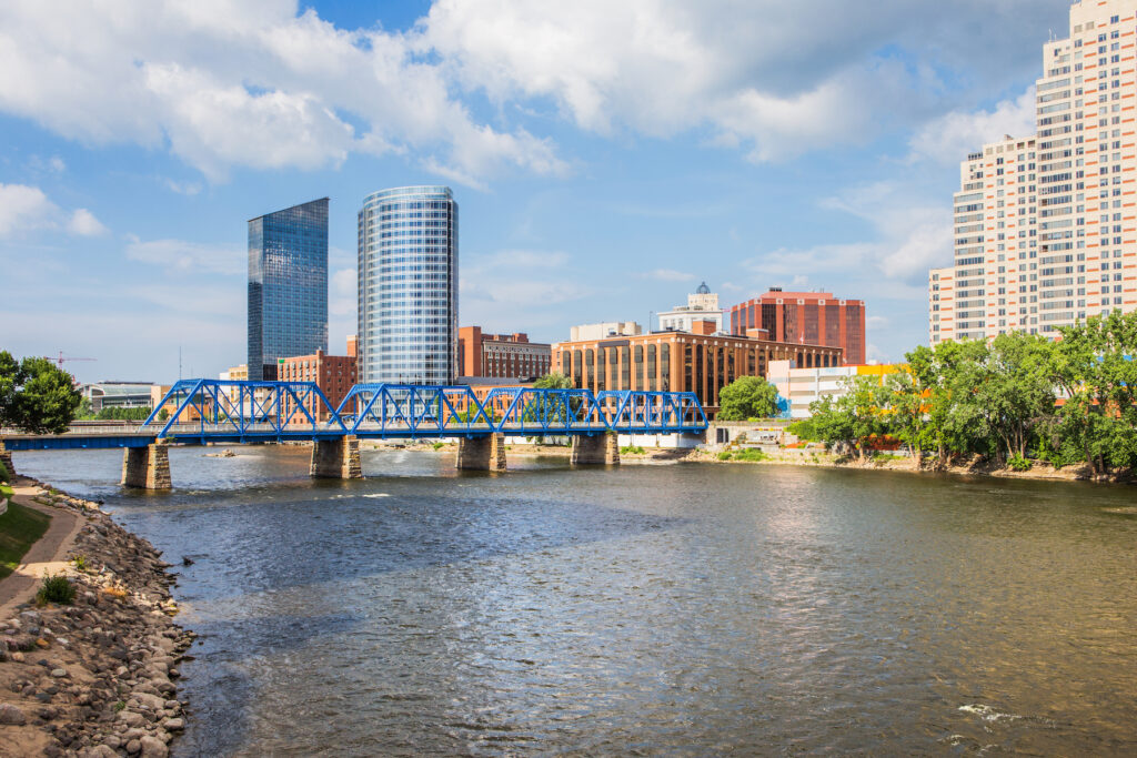 View of the Grand Rapids skyline in Michigan.