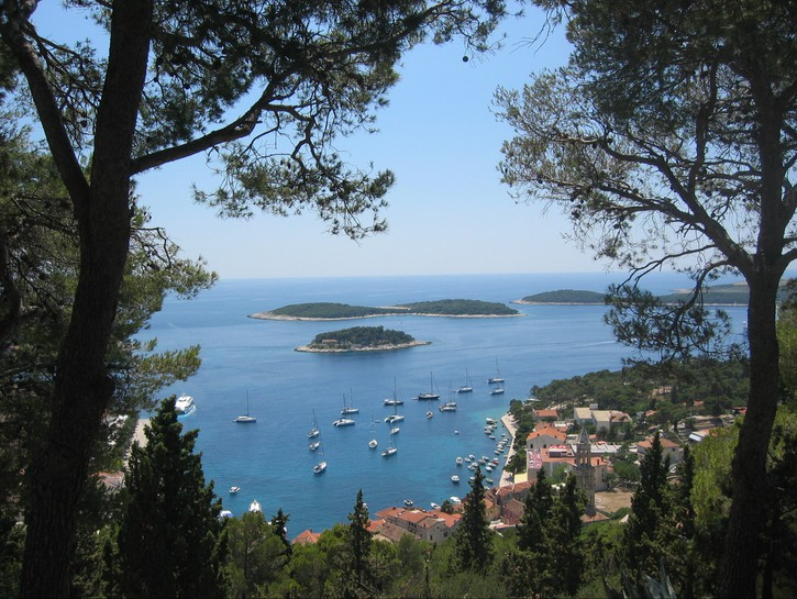 View of the harbor of Hvar.