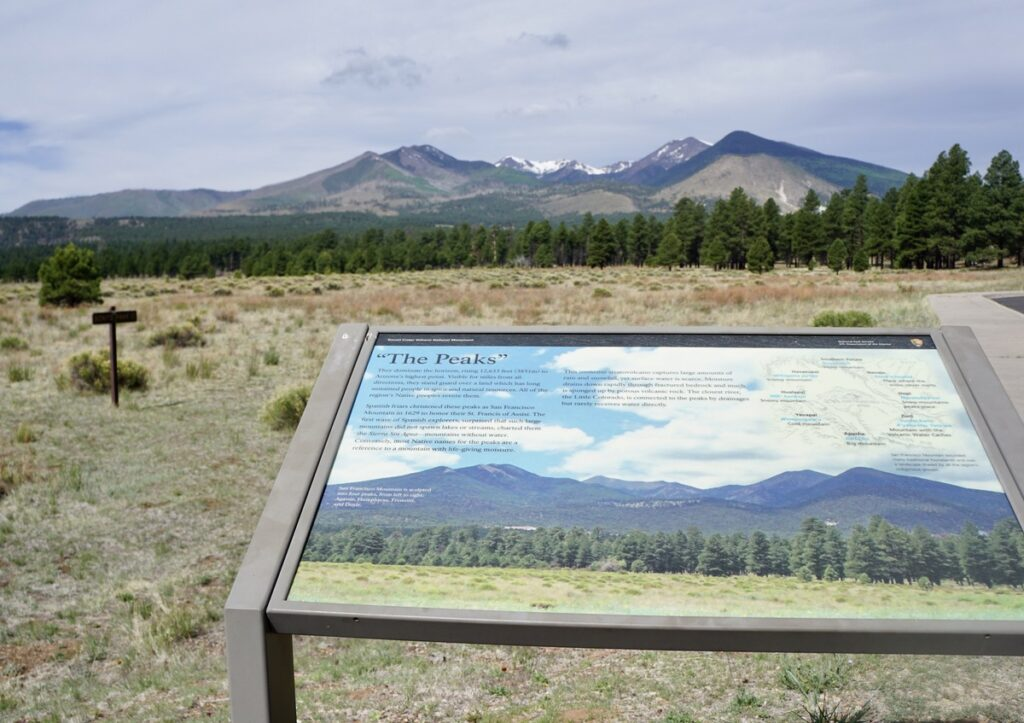 View of the Peaks on a trail in Flagstaff, Arizona.