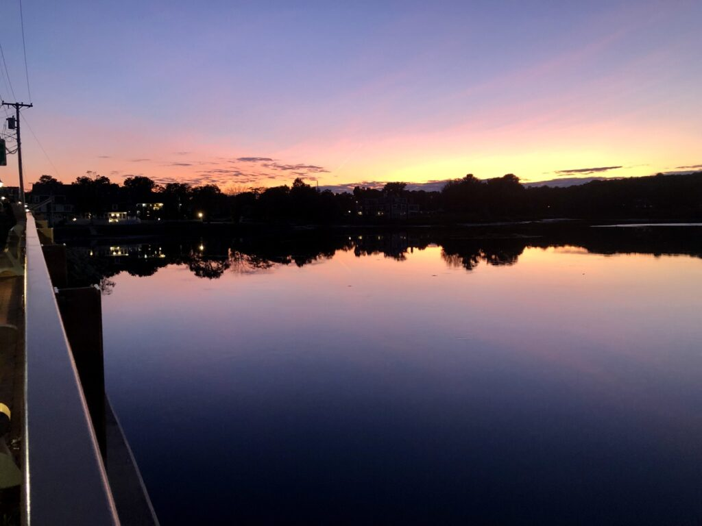 View of the sunset from Lanigan Bridge in Kennebunkport.