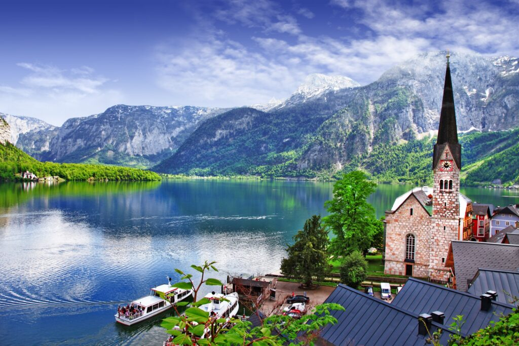 View of the surrounding Austria countryside from Hallstatt.