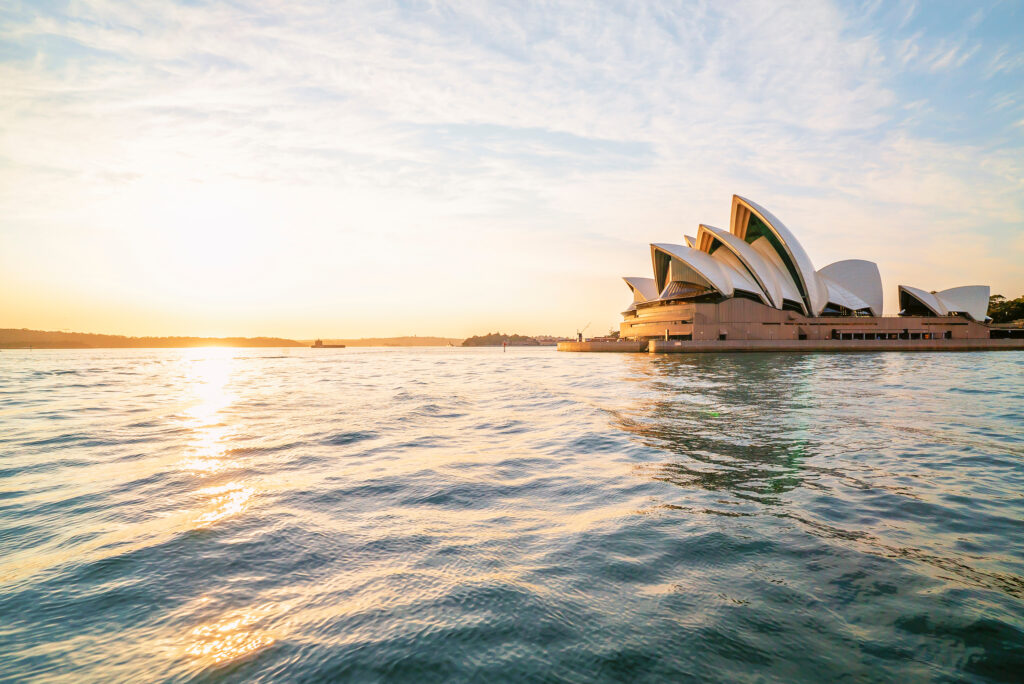 View of the Sydney Opera House at sunrise
