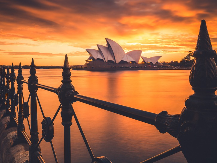 View of the Sydney Opera House across the river at sunset