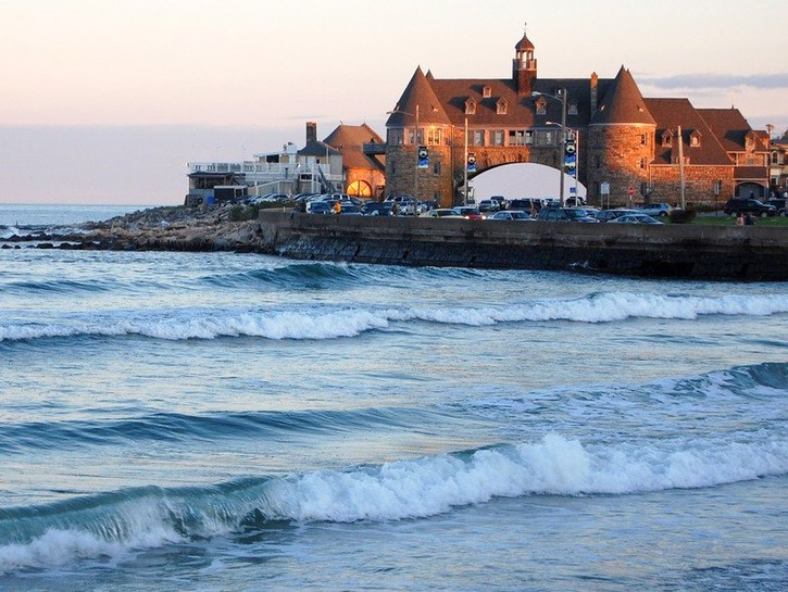 View of The Towers from Narragansett Beach in Rhode Island.