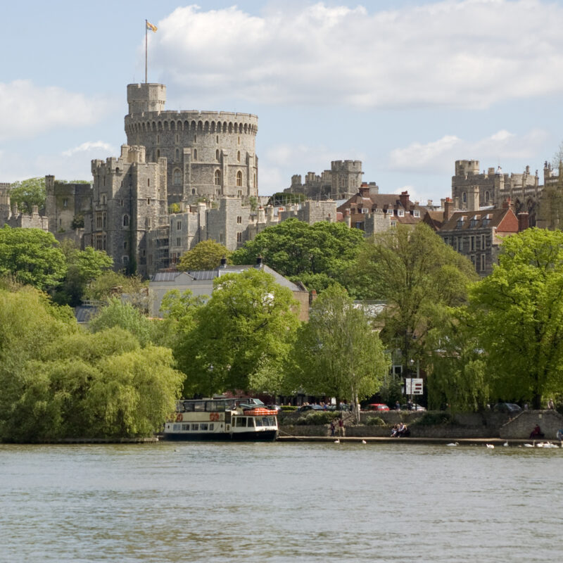 View of the town of Windsor and Windsor Castle in England.