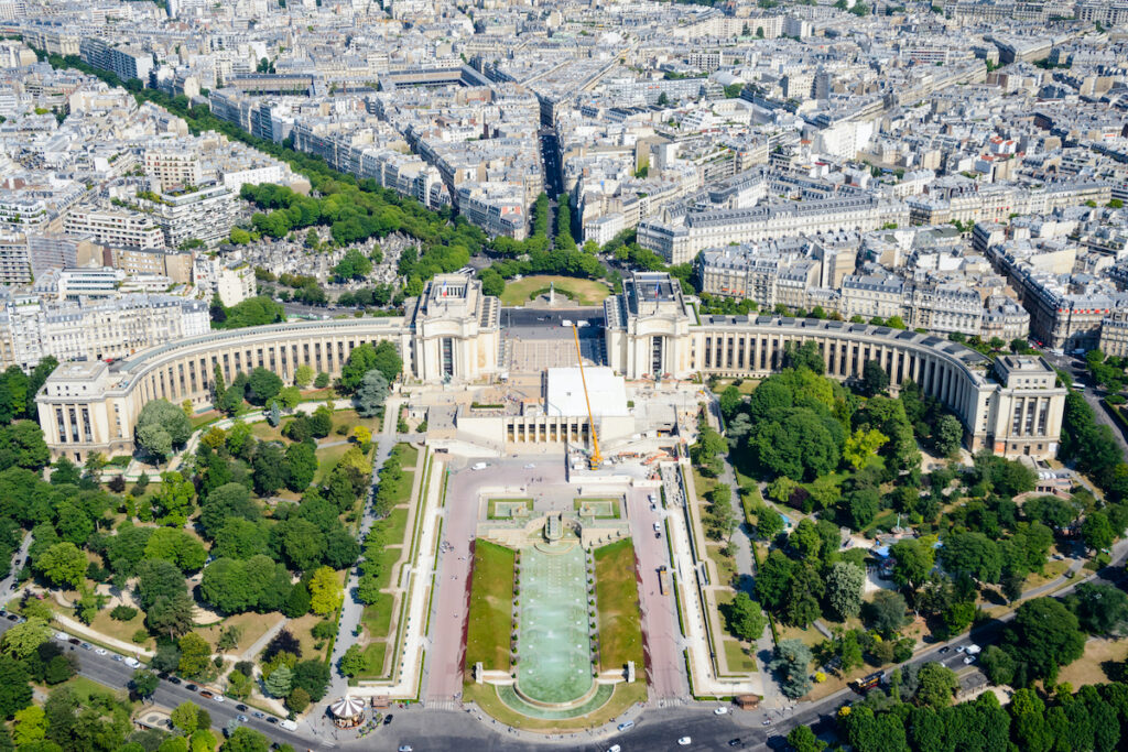 View of the Trocadero Gardens from the Eiffel Tower.