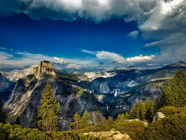 View of trees and mountains, Yosemite National Park.
