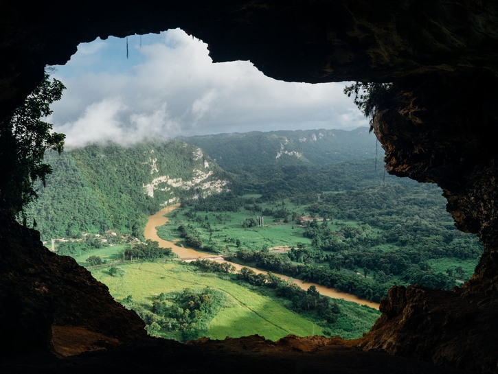 View of valley out of cave