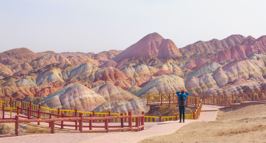 Viewing Rainbow Mountains in China.