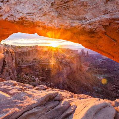 Views from Mesa Arch in Canyonlands National Park in Utah.