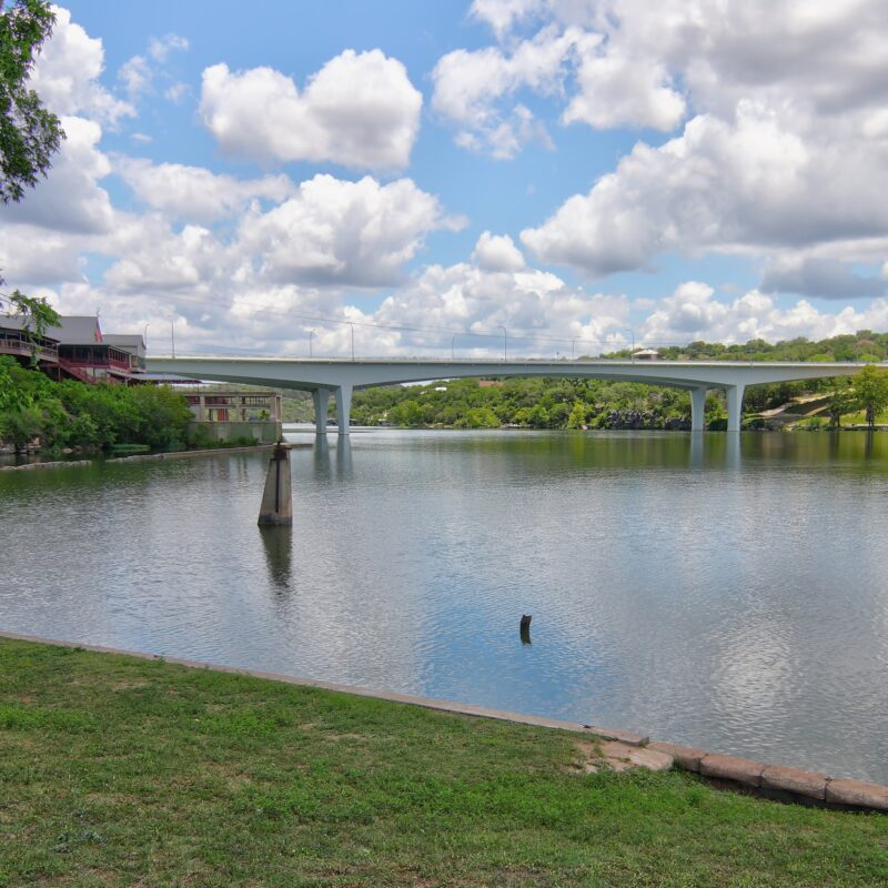 Views from the banks of Lake Marble Falls in Texas.