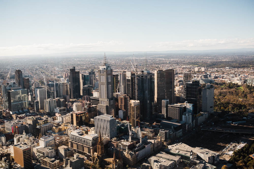 Views from the Eureka Sky Deck in Melbourne.