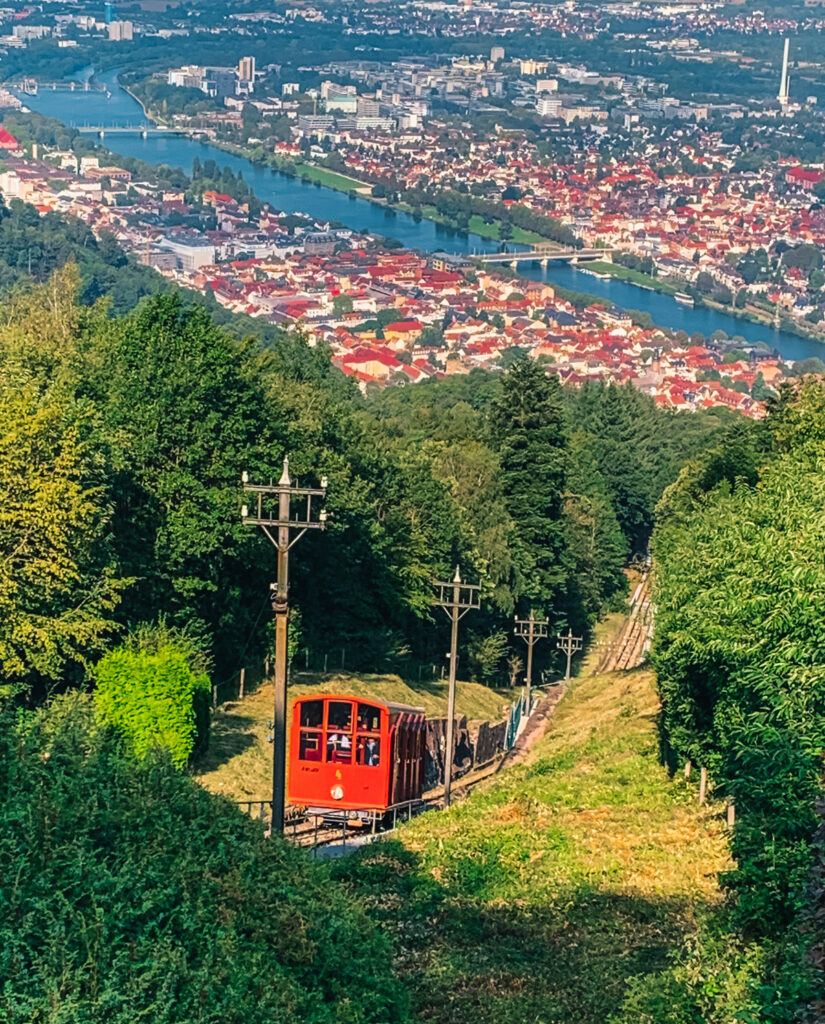 Views from the funicular in Heidelberg.