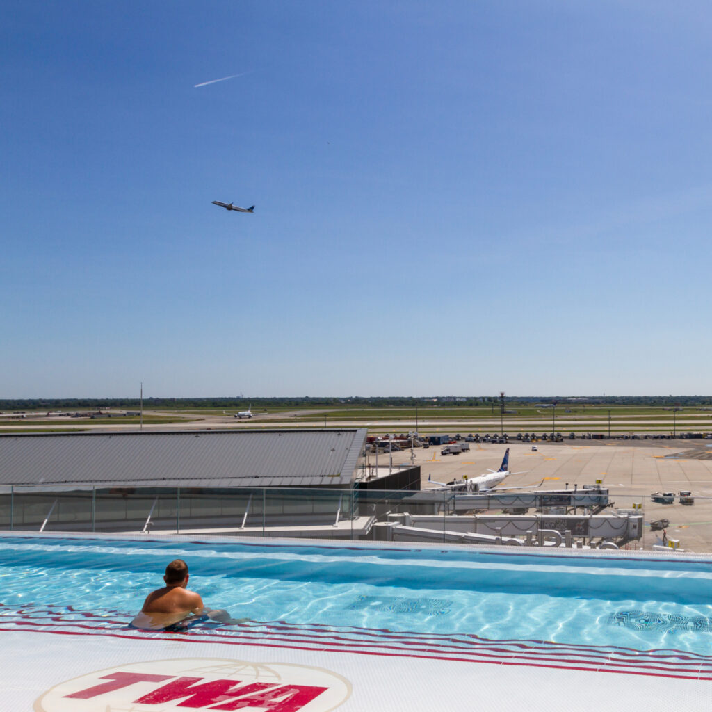 Views from the infinity pool at the TWA Hotel.