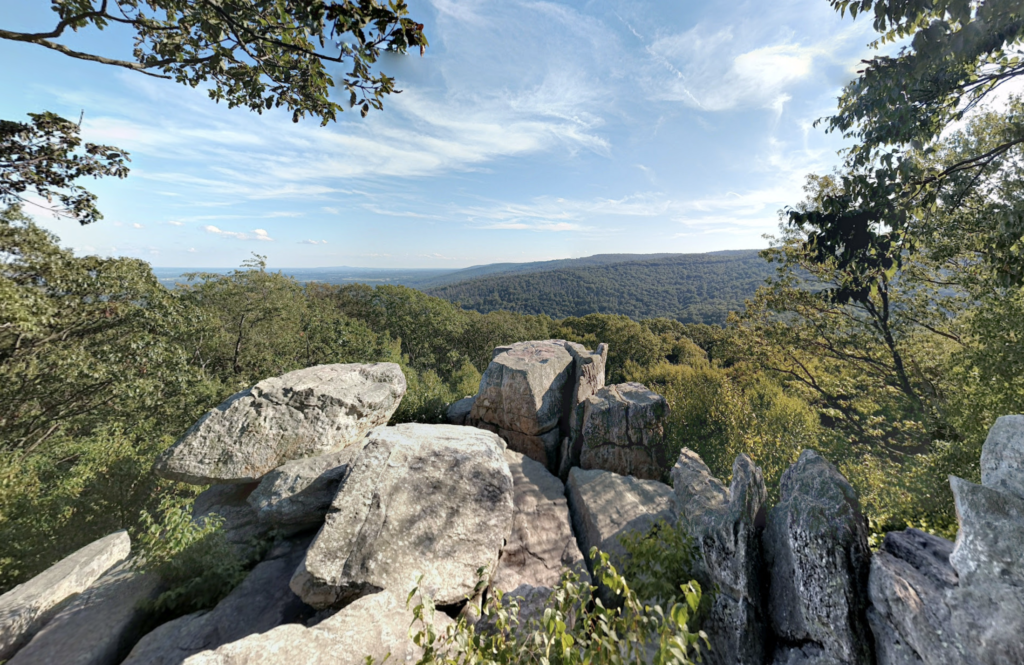 Views from the top of Chimney Rock in Maryland.