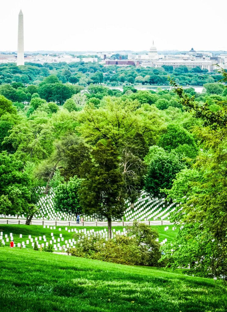 Views of Arlington National Cemetery and Washington D.C.
