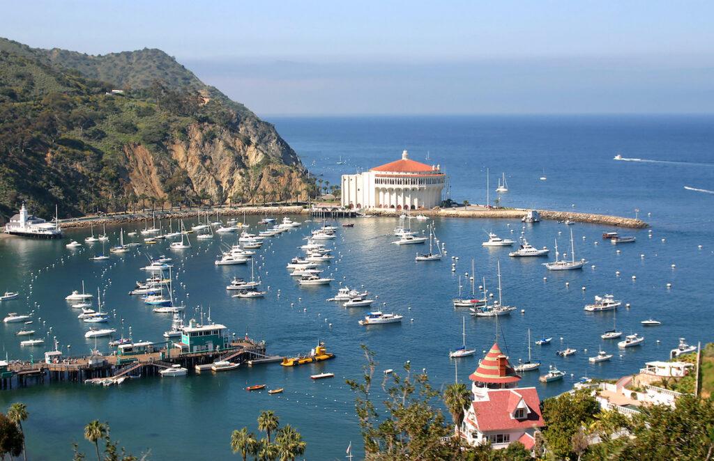 Views of Avalon Bay in Catalina, California.